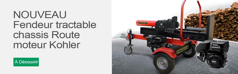 Fendeur 22 tonnes sur chassis Route motorisé par KOHLER